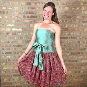 Molly B Silk Drop Waist Bubble Skirt Cocktail Sz 2
